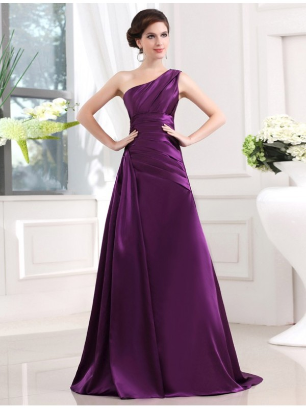 A-Linie/Princess-Linie One-Shoulder-Träger Ärmellos Stretch-Satin Falten Lange Kleid