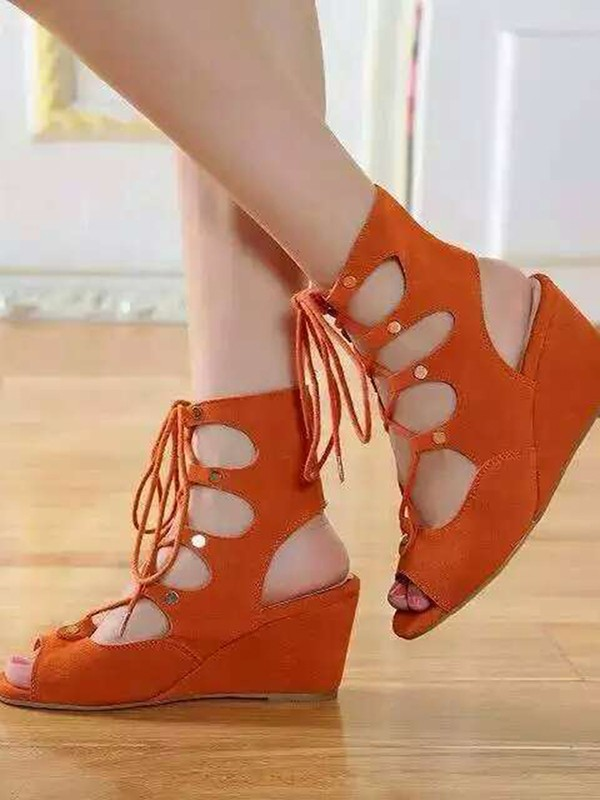 Damen Wedge Hacke Suede Peep Toe mit Spitze-up Sandalel Knöchel Orange Stiefel