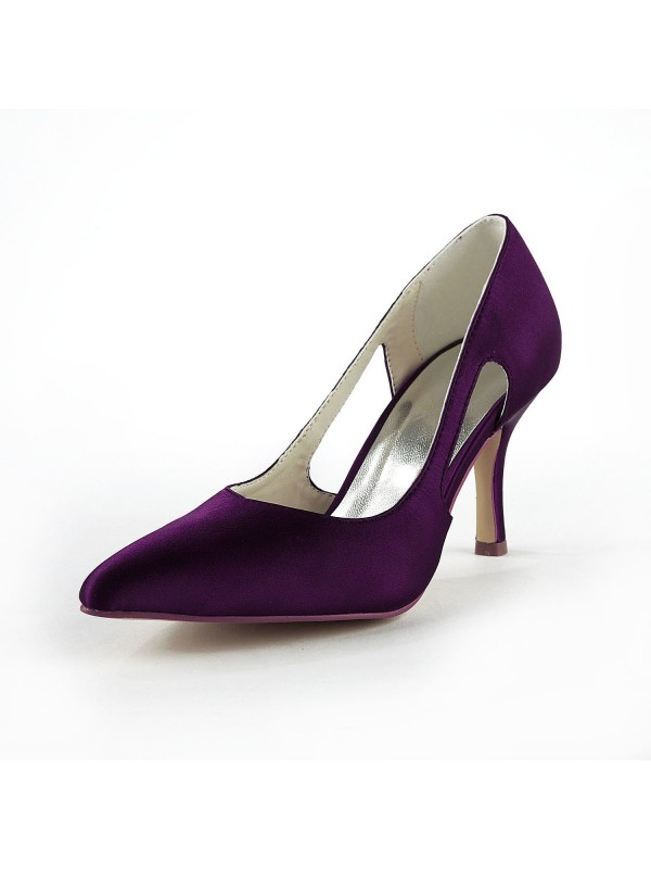 Damen Satin Stiletto Hacke Geschlossene Zehe Pumps Grape Brautschuhe